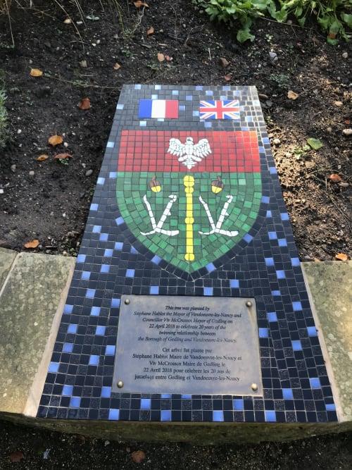 """Public Mosaics by Julie Vernon seen at Arnot Hill Park, Arnold - """"Vandoeuvre Le Nancy"""" Mosaic"""