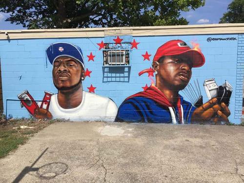 Murals by Rahmaan Statik Barnes seen at O'Neil's Barber & Beauty Salon, Baton Rouge - Building readers mural project Wall 2
