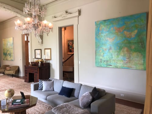 Paintings by Karoline Schleh seen at Private Residence, New Orleans - Garden District Oil Painting Diptych
