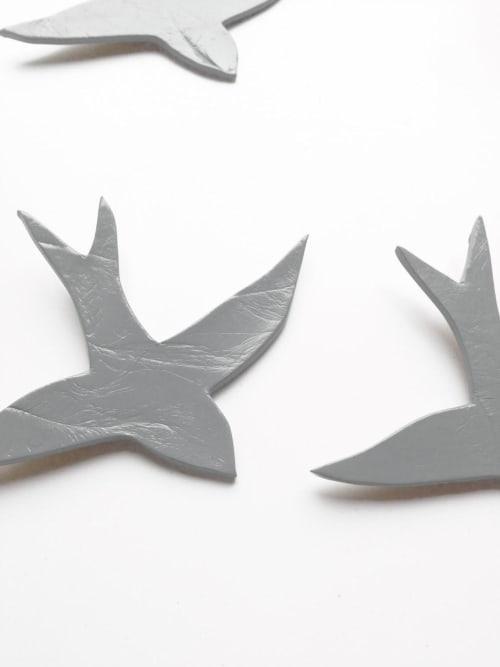 Art & Wall Decor by Elizabeth Prince Ceramics seen at Creator's Studio, Manchester - Set of 3 Soft Mid Grey / Gray Porcelain Swallows