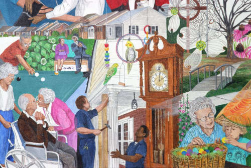 Murals by Trena McNabb seen at Arbor Acres United Methodist Retirement Community, Winston-Salem - ARBOR ACRES- The FIRST 25 Years