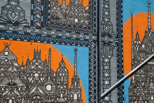 Murals by Isakov seen at Holzmarktstraße 25, Berlin - Berlin Mural Festival