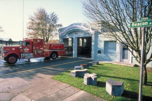 Public Sculptures by Ellen Ziegler seen at Seattle Fire Station 13, Seattle - TIDAL WAVE STORY