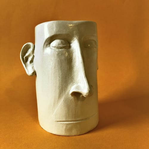 Vases & Vessels by WollaA Ceramics seen at Private Residence, Bourg-Saint-Bernard - Head pot with a septum piercing