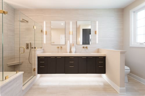Interior Design by Donnelly Banks Interiors seen at Rehoboth Beach, Rehoboth Beach - Sleek meets Coastal Luxury Master Bath