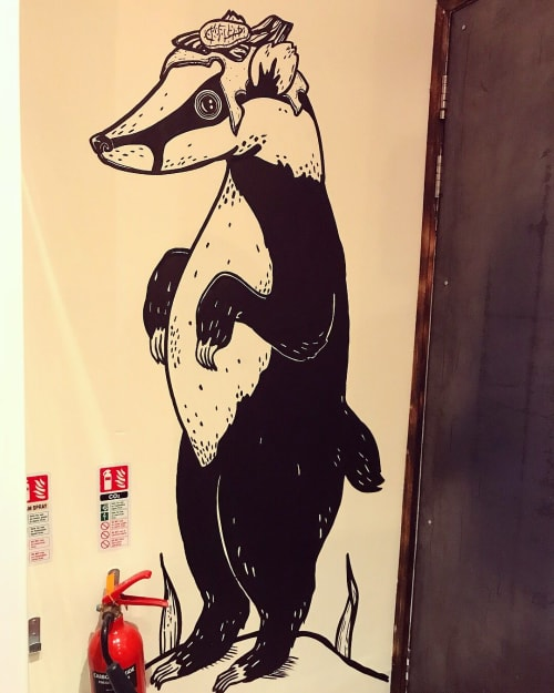 Murals by Little Book Transfers seen at Brgr Glasgow City Centre, Glasgow - Animal Illustration