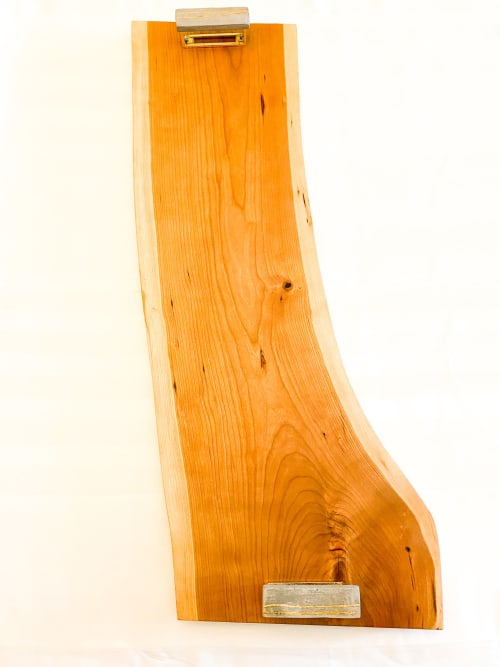 Tableware by D&D Wood Art seen at Private Residence, Toronto - Cherry Charcuterie Board   Concrete & Gold Handles