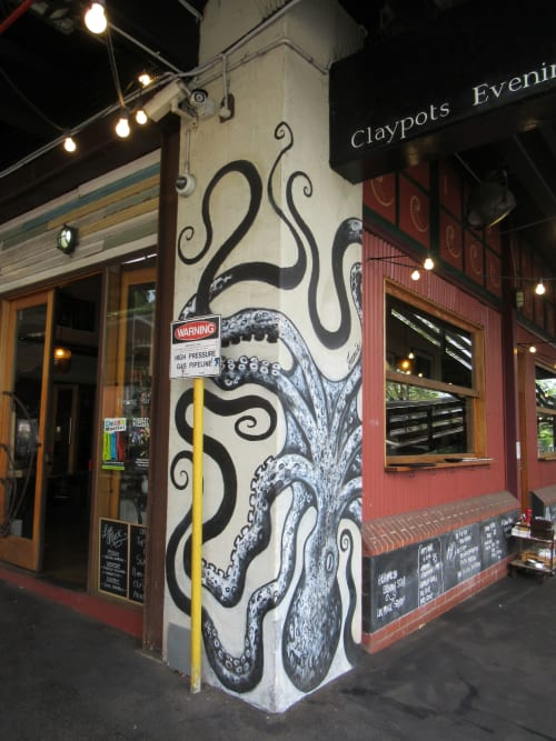 Murals by Jamie-Leigh Cornwell Art seen at Claypots Evening Star, South Melbourne - Octopus Mural