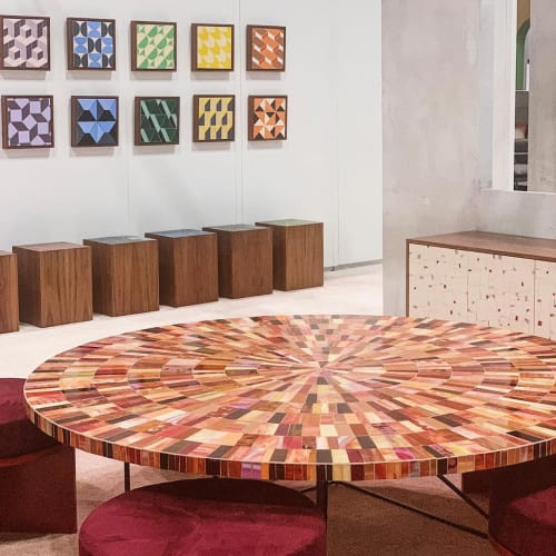 Tables by Ercole seen at Jacob K. Javits Convention Center, NYC, New York - Sunburst Terra Cotta Table