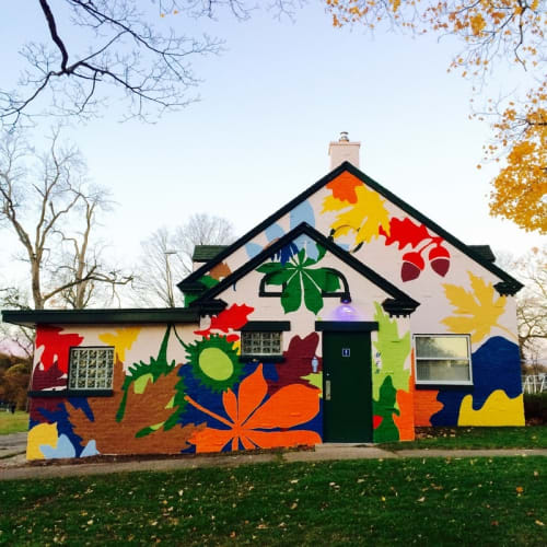 Murals by Kelly Allen seen at Lincoln Park, Grand Rapids - Lincoln Lodge Mural