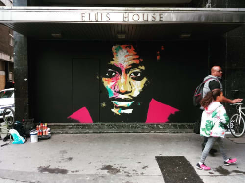 Street Murals by Raphael Gindt seen at Ellis House, Croydon - Blooming 2