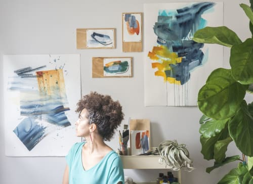 Paintings by Vessna Scheff seen at Private Residence, Philadelphia - Studio View