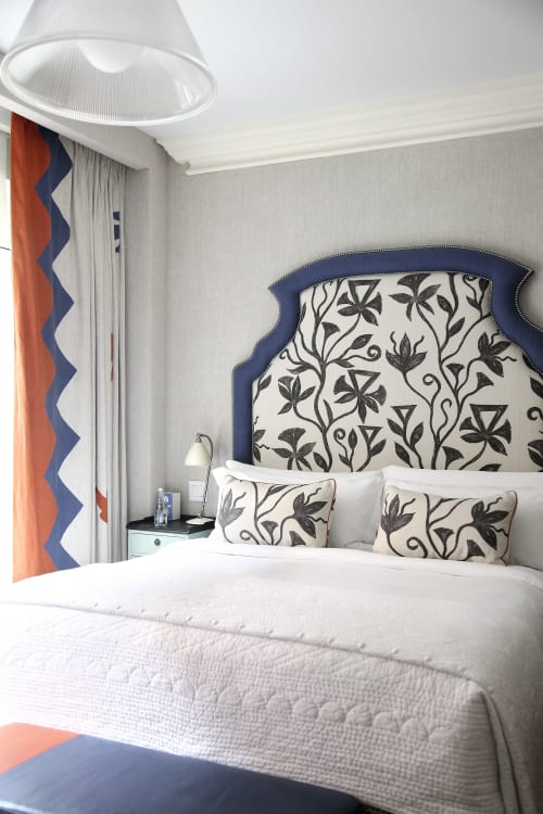 Curtains & Drapes by l'aviva home seen at Crosby Street Hotel, New York - Headboard fashioned from Khovar Collection fabric at the Crosby Hotel