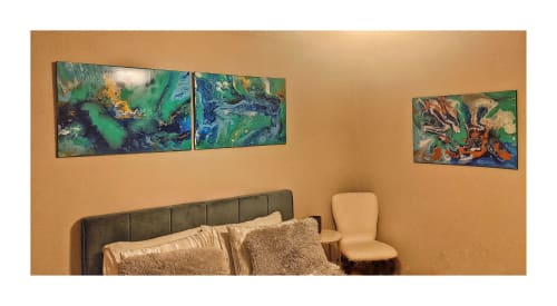 Paintings by Soulscape Art seen at Private Residence, Dallas - Ocean Triptych
