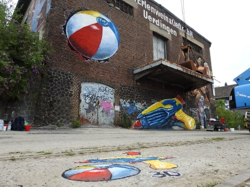 Street Murals by Anat Ronen seen at Krefeld, Krefeld - Summer Time!