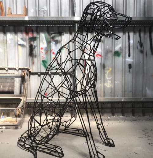 Sculptures by Cezary Stulgis seen at Private Residence, Melbourne - Sam the Black Labrador