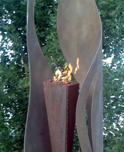 "Sculptures by Brian Schader seen at Private Residence, Fountain Hills - ""Fire & Ice"""