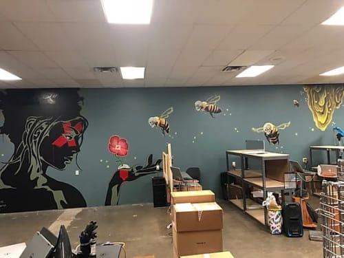 Murals by Juan Villegas seen at GRAV Studios, Austin - Sleep Walker
