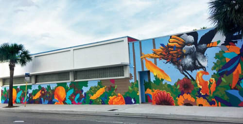 Murals by Ernesto Maranje seen at Lighthouse of Broward County, Inc., Fort Lauderdale - Main Course