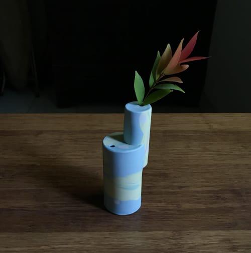 Tinted Blue Geometric Vase   Vases & Vessels by Renee's Ceramics