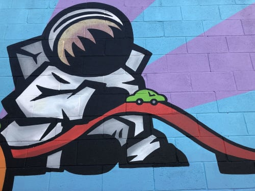 Murals by Joy Hernandez Art - JoyTheStampede seen at 1125 E Brookside Ave, Indianapolis - Space Race mural