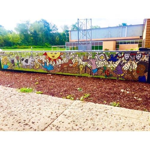 Street Murals by Laura Jean Mclaughlin seen at Mapletown Junior/Senior High School, Greensboro - Mosaic Mural
