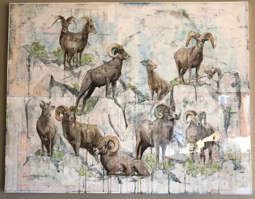 Paintings by Lisa Gleim Fine Art seen at Private Residence, Big Sky - Montana Big Horn Sheep