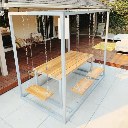 Tables by SwingTables seen at Private Residence, Torrance - Grey 6-Seater SwingTable Cedar