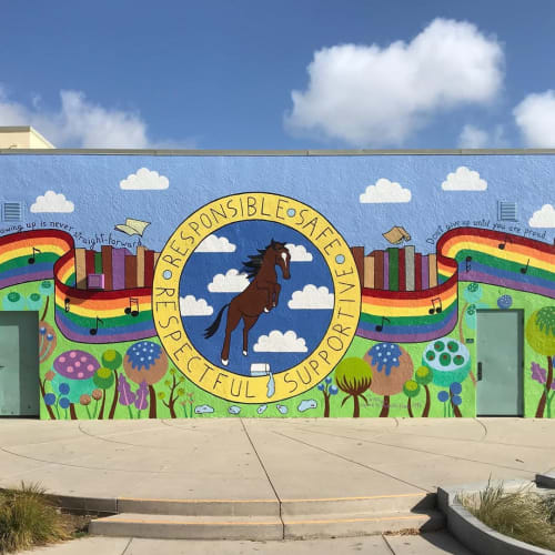 Murals by Flo de Bretagne seen at Central Middle School, San Carlos - Wall Mural