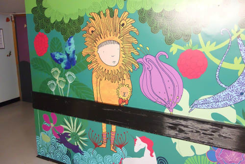 Murals by Sas and Yosh seen at Lister Hospital, Stevenage - Bluebells Children's ward - Lister Hospital