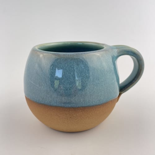 Turquoise Rustic Coffee Mug   Cups by Tina Fossella Pottery