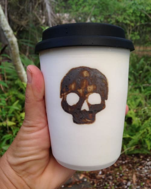 Cups by Elke Lucas Ceramics seen at Skål Coffee, Peregian Beach - Skull Take Away Cups
