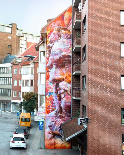 Street Murals by PichiAvo seen at Helsingborg, Helsingborg - Poseidon