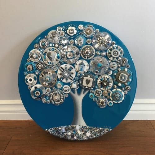 """Art & Wall Decor by Cami Levin seen at Private Residence, San Diego - """"Dreaming of the Sea"""" - 20"""" Diameter"""