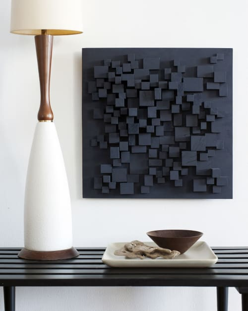 """Sculptures by Modern Art Woodworks at Private Residence, Atlanta - No. 034 """"STARLESS NIGHT (#4)"""