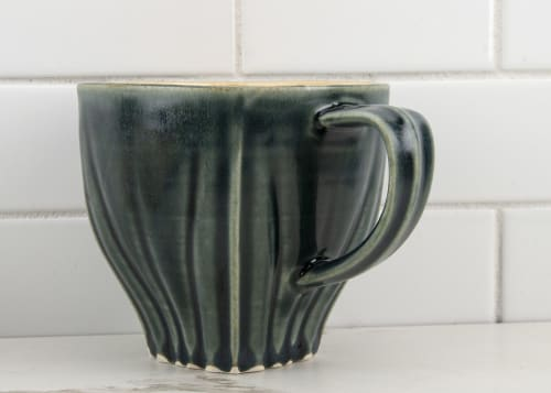 Cups by M.L. Pots seen at Creator's Studio, Borden - Draped Coffee Cup with Nightfall Grey Glaze - 006