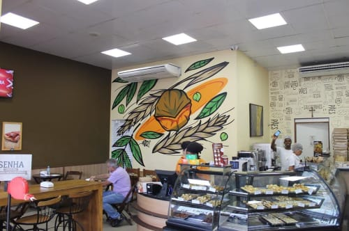 "Murals by Fernando Garroux ""Garu"" seen at Bakery Nutshell, Vila Seabra - Indoor Mural"