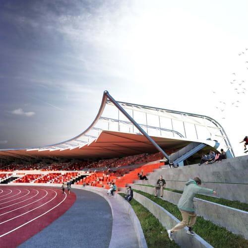 Architecture by WTA Architecture and Design Studio seen at Ilocos Norte - Ilocos Sur Border Arch, Badoc - FEM Stadium