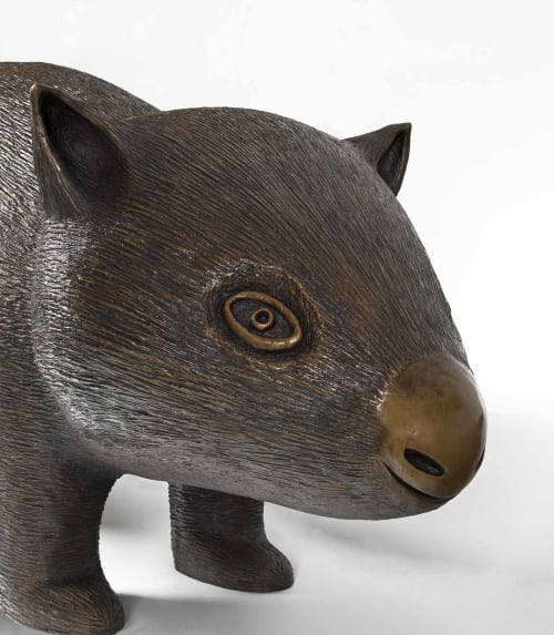 Sculptures by Dean Bowen seen at Private Residence, Wodonga - Wombat (Large) and Wombat (Small)