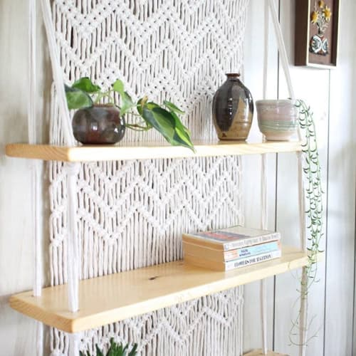 Macrame Wall Hanging by Rope Fiber Arts seen at Private Residence, Somerville - Hand woven, hanging macrame shelves