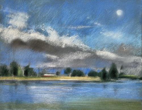 Paintings by Wendy Goldberg Art seen at Creator's Studio, San Anselmo - Moonrise over lake lagunitas