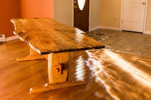 Tables by Gill CC Woodworks seen at Private Residence, Montague - Spalted maple trestle table