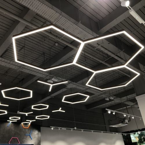 Pendants by Prolight Design Ltd seen at Manchester, Manchester - Hex and Y LED Luminaires