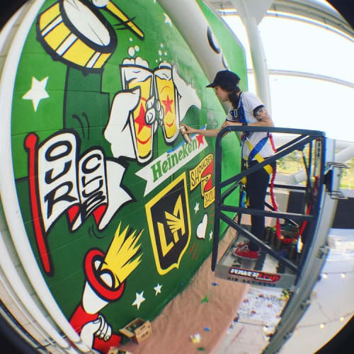 Murals by Nina Palomba - Nina's World seen at Banc of California Stadium, Los Angeles - Heineken x LAFC Mural