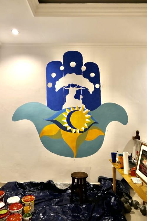 Murals by Galih Sakti seen at Private Residence, Jakarta - The Hamsa Mural