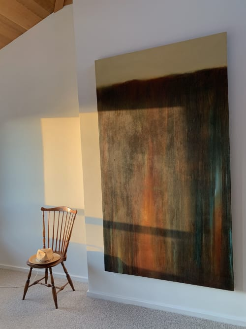 """Paintings by Saundra McPherson seen at Private Residence, Sea Ranch - Edge No. 60, oil/alkyd on canvas, 84"""" x 48"""""""