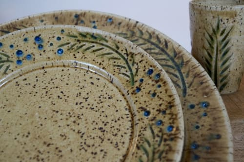 Tableware by Honey Bee Hill Ceramics seen at Gifts At 136, Damariscotta - Rain & Grain Series