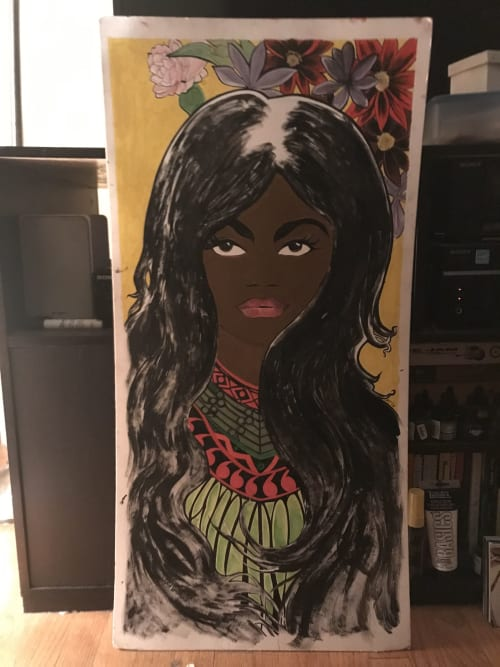 Murals by Rich T. seen at Harlem, New York - Woman