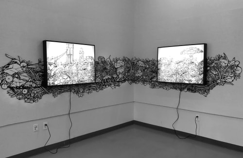 "Art & Wall Decor by Priscila De Carvalho seen at Brooklyn Bridge Park, Brooklyn - ""Before Now"""