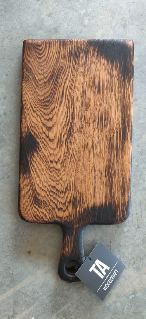 French Oak Blackened Boards with Handle | Tableware by Todd Alan Woodcraft | Todd Alan Woodcraft in Vancouver